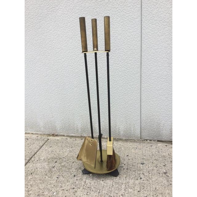 1960s Modernist Brass Fireplace Tools & Holder Set - Image 10 of 10