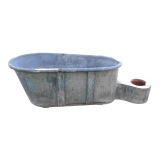 Antique French Zinc Bathtub Planter