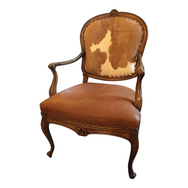 1930s Re-Upholstered Cowhide Leather Chairs - Image 1 of 11
