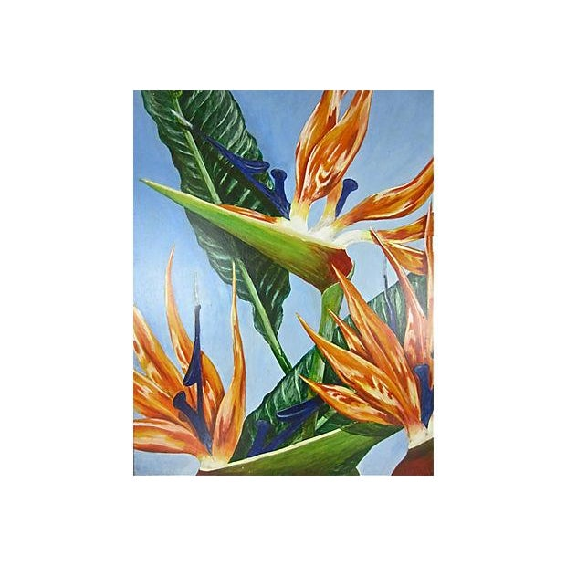 """Birds of Paradise"" Oil Painting by Sally Gelley - Image 2 of 4"