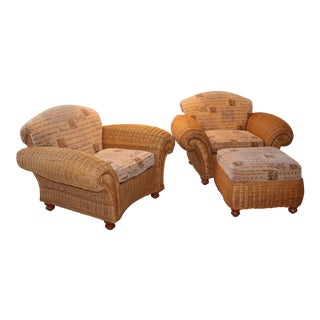 Wicker Club Chairs & Ottoman - Set of 3