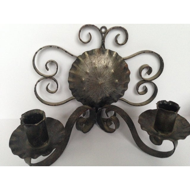 Spanish Revival-Style Candle Sconces- A Pair - Image 4 of 11