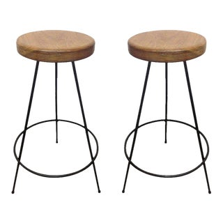 Pair of Industrial Wrought Iron Stools