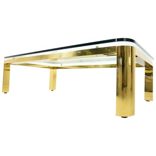 Large Brass Finish Base Coffee Table with Glass Top