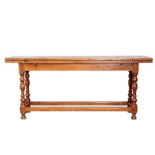 Solid Oak Side Table with Two Hinged Leaves