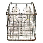 Image of Galvanized Wire Crate & Glass Cream Top Bottles - Set of 6