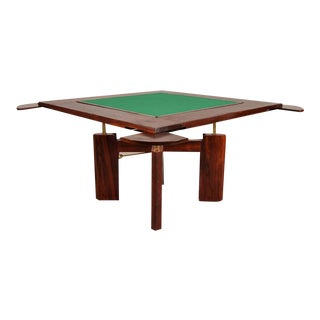 Gaming Table in Solid Rosewood, Italy, circa 1960