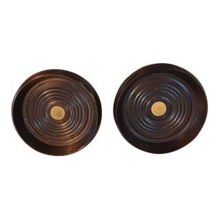 Antique Mahogany English Wine Coasters - A Pair