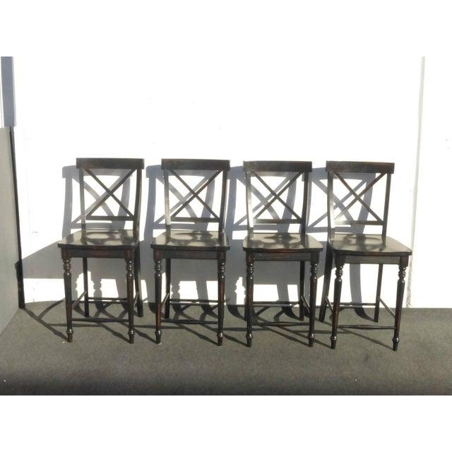 Black Modern Wood Bar Stools - Set of 4 - Image 3 of 11