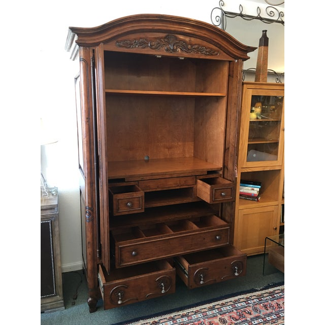 French Provincial Style Media Armoire Cabinet - Image 4 of 11