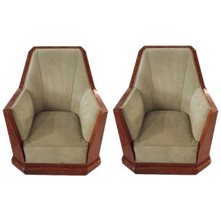 Dominique Style French Art Deco Club Chairs - A Pair