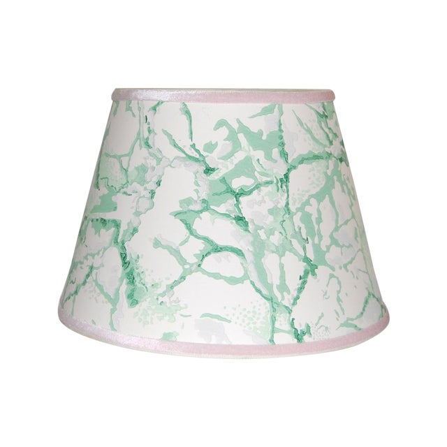 Green & White Marble Vintage Wallpaper Lampshade - Image 1 of 4