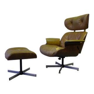 Mid Century Modern Eames Style Lounge Chair + Ottoman