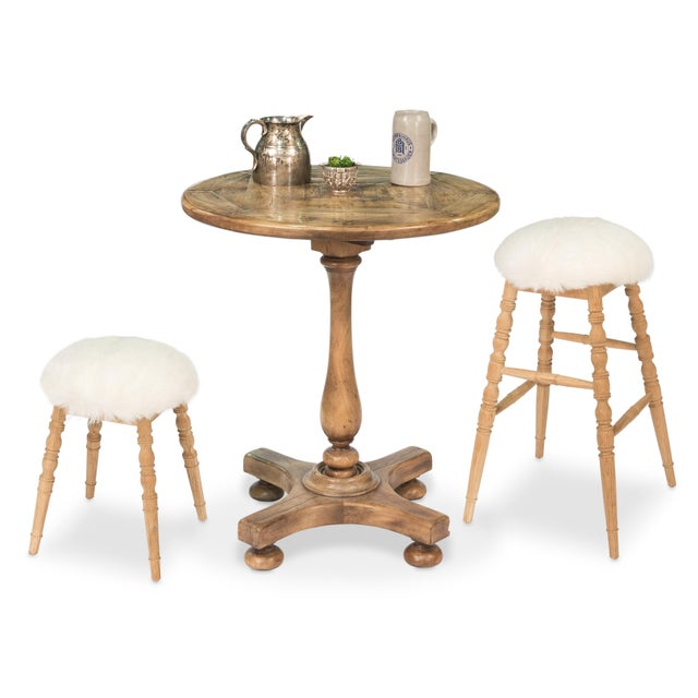 Sarreid LTD Winoma Wood & Goatskin Bar Stool - Image 6 of 6
