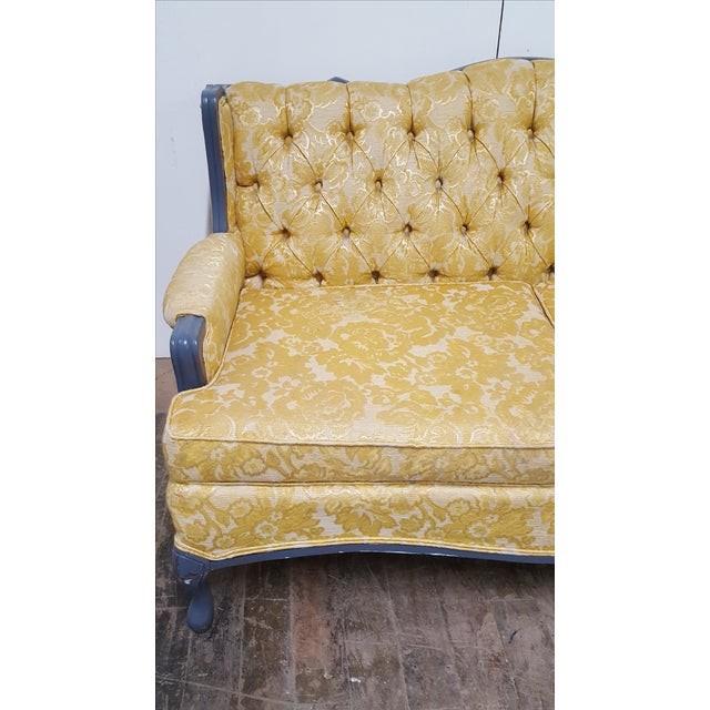 Vintage French Provincial Yellow Brocade Loveseat - Image 6 of 6