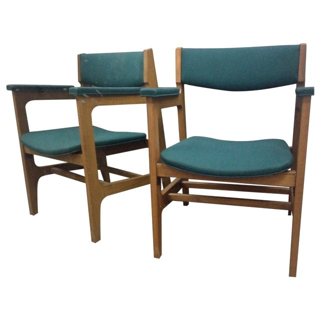 Teal Mid-Century Modern Arm Chairs - Set of 4 - Image 1 of 6