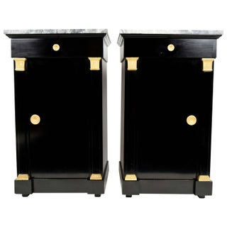 Vintage Empire Style Marble Top Ebonized Nightstands- A Pair