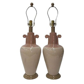 Pink & Blush Swirl Ceramic Lamps - A Pair