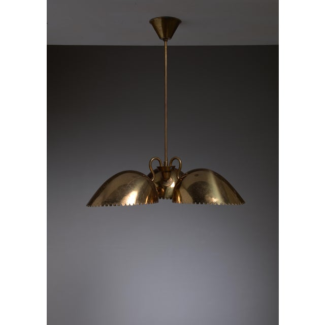 Bertil Brisborg Brass Pendant with Three Shades, Bohlmarks, Sweden, 1940s - Image 2 of 3