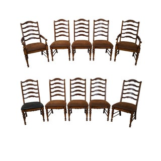 French Country Ladder Back Dining Chairs - Set of 10