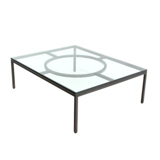 Modern Rectangle Bronzed Frame Coffee Table