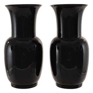1978 Venini Signed Black Glass Urns - A Pair