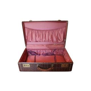 Brown Faux Crocodile Suitcase