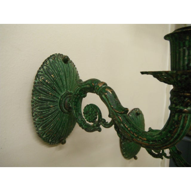 Vintage Electric Cast Iron Wall Sconces - 4 - Image 6 of 9