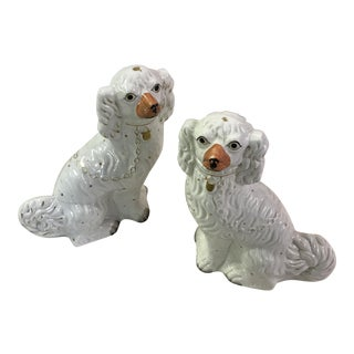 White and Gilt Staffordshire Dogs - A Pair