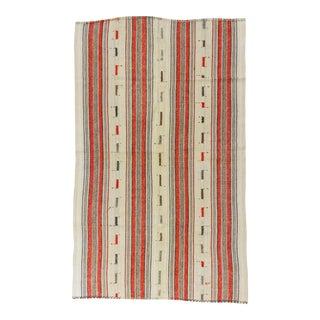 Vintage Handwoven Orange Striped Turkish Kilim Rug - 5′3″ × 8′9″