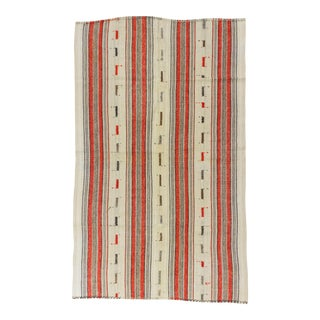 Vintage Handwoven Orange Striped Turkish Kilim Rug - 5′3″ × 8′9″