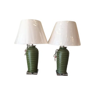 Port 68 Palm Green Glazed Lamps - Pair