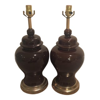Chocolate Brown Ginger Jar Lamps - A Pair