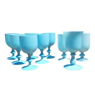 French Opaline Blue Chalices - Set of 9