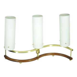 Vintage Mid Century Modern Stilnovo Brass Teak Glass Table Lamp