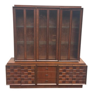 Brutalist Modern Sideboard With China Cabinet