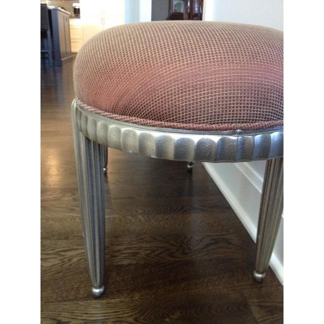 Interior Crafts Silver Leaf Upholstered Bench - Image 8 of 11