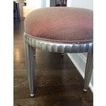 Image of Interior Crafts Silver Leaf Upholstered Bench