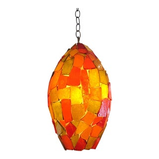 Mid-Century Orange Glass Chandelier
