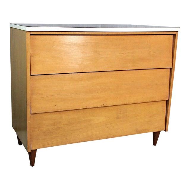 Mid century modern blond wood dresser bureau chairish for 12 inch depth dresser