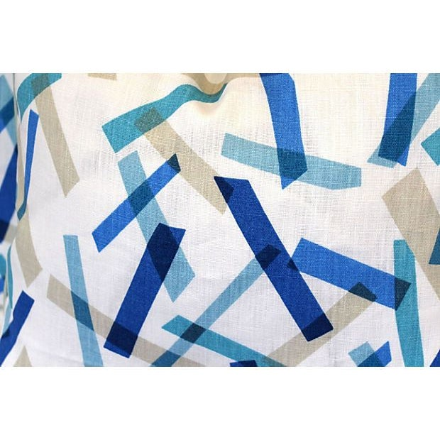 Blue and White Linen Pillows II - Pair - Image 5 of 6