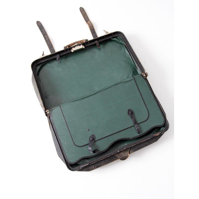 Vintage Black Leather Suitcase | Chairish
