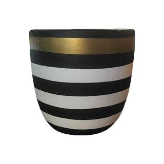 Designer Black & White Striped Planter
