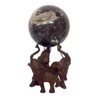 Art Deco Elephants & Orb Bronze & Marble Sculpture