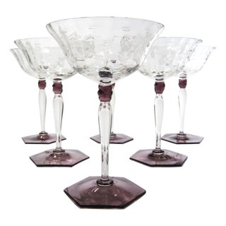 Amethyst & Clear Textured Cocktail Glasses - S/6