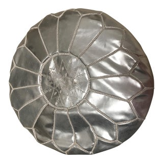 Silver Leather Ottoman