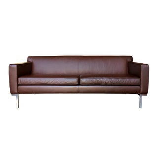 Ted Boerner Brown Leather Theatre Sofa