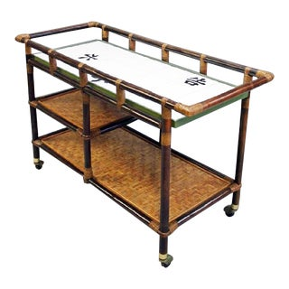 Ficks Reed Bamboo & Rattan 3-tier Bar Cart
