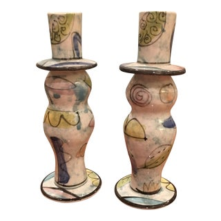 Hand Painted Modern Candlesticks - A Pair