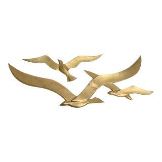 Brass Wall Hanging Seagull Sculpture, 2 pieces